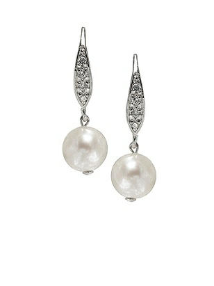 Pearl Pave Drop Earrings http://www.dessy.com/accessories/pearl-earrings-hooks/