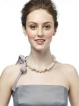 Faux Pearl and Rhinestone Ribbon Necklace