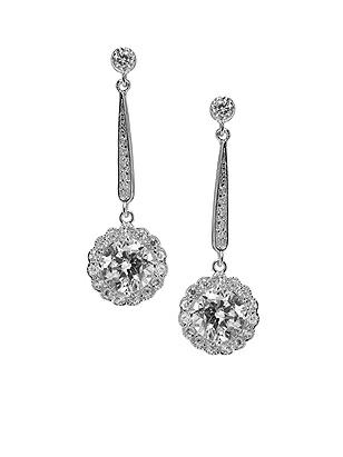 Drop Flower CZ Solitaire Earrings http://www.dessy.com/accessories/drop-flower-cz-solitaire-earrings/