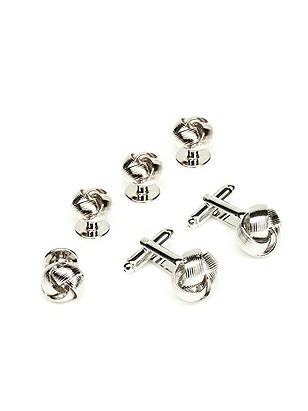 Silver Knot Cufflink and Stud Set http://www.dessy.com/accessories/mens-silver-knot-cuff-link-and-stud-set/