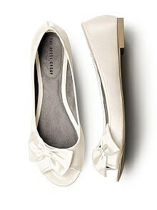 Satin Peep Toe Bridal Ballet Flats