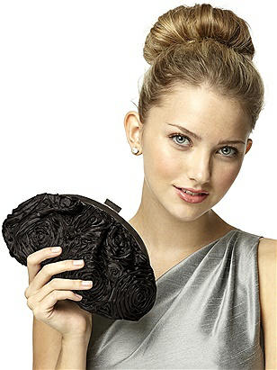 CLOSEOUT - Rosette Fabric Clutch with Jeweled Clasp http://www.dessy.com/accessories/rosette-fabric-clutch-with-jeweled-clasp/