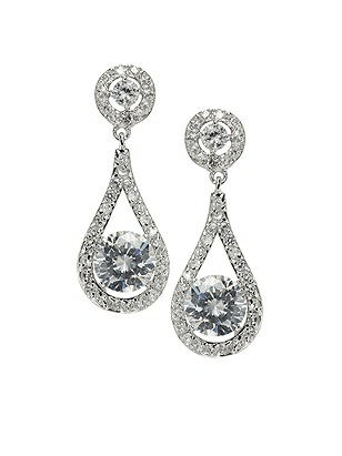 Faceted Solitaire Drop CZ Earrings http://www.dessy.com/accessories/solitaire-drop-cz-earrings/