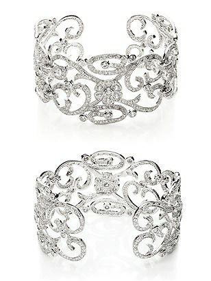 CZ Estate Scroll Cuff Bracelet http://www.dessy.com/accessories/cz-estate-scroll-cuff-bracelet/