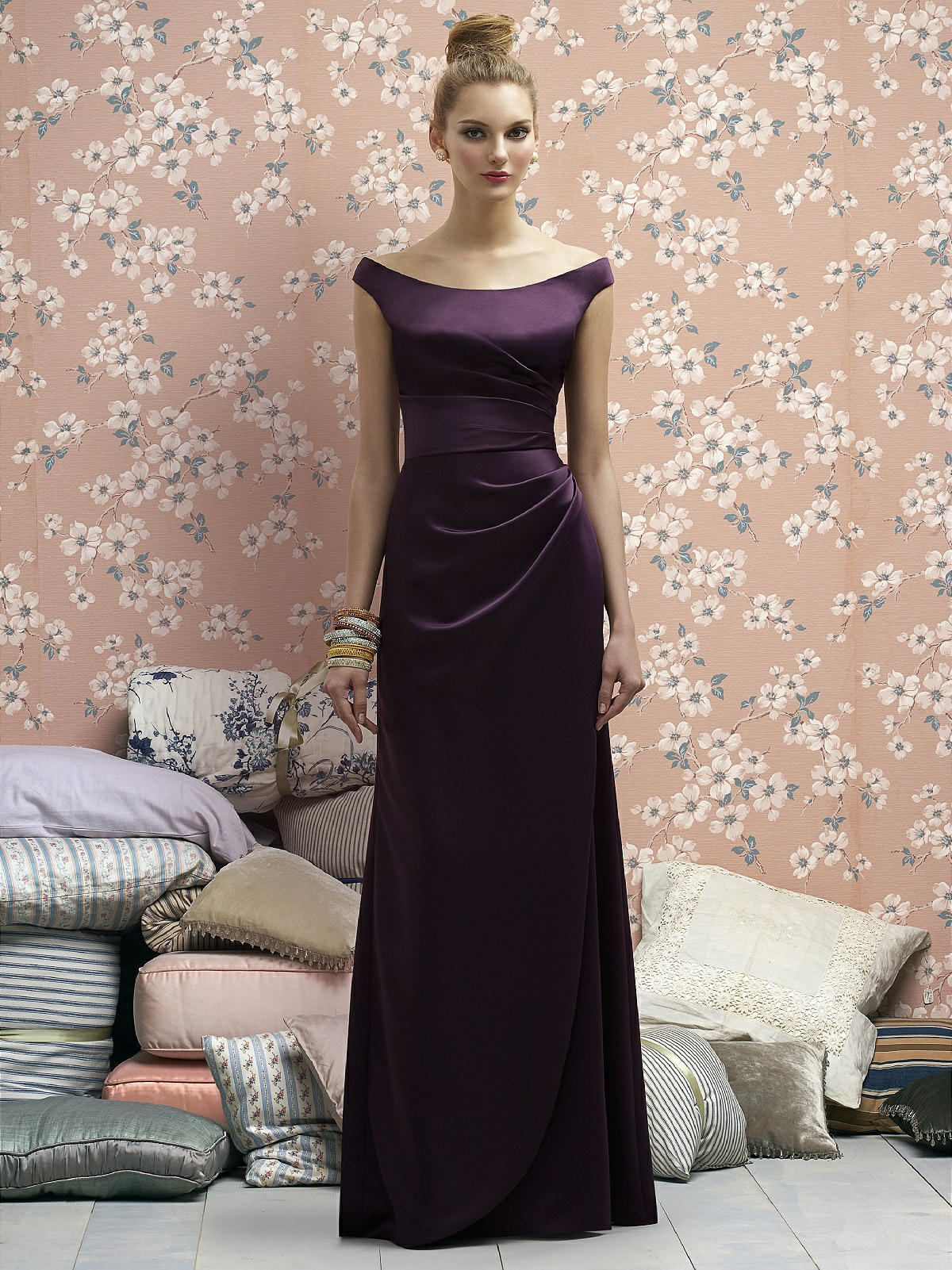 dark purple satin bridesmaid dress