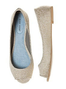 Park Avenue Brocade Open-Toe Flats