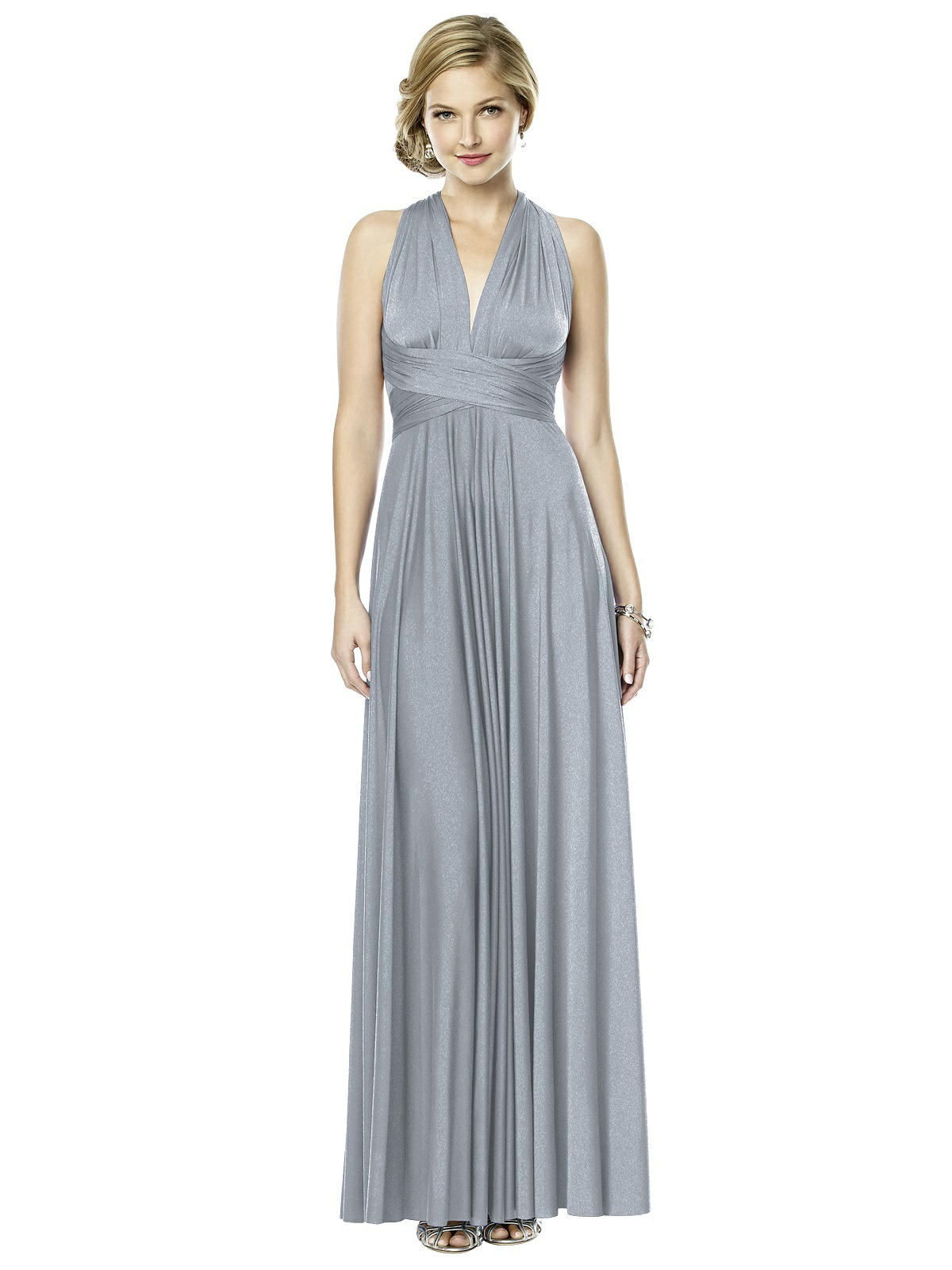Long Twist Dress In Shimmer Jersey The Dessy Group