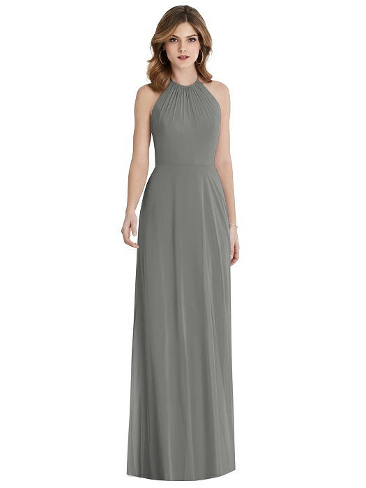 Charcoal Bridesmaid Dresses with Ruby Jewelry